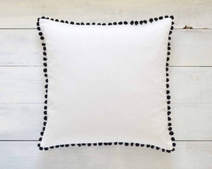 Black Pom Pom Pillow Cover