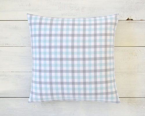 Blue, Gray & White Plaid Flannel Pillow Cover