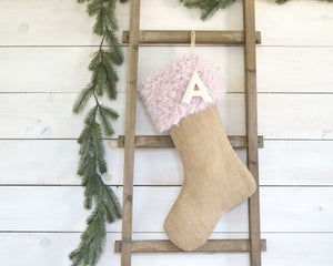CHRISTMAS STOCKING - Blush Pink Faux Fur and Burlap