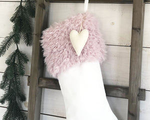 CHRISTMAS STOCKING  - Blush Pink Faux Fur and Velvet