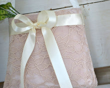 Flower Girl Bag - Blush Lace with Ivory Bow