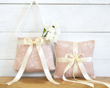 Ring Bearer Pillow & Flower Girl Basket - Blush Lace with Ivory Bow