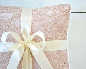 Ring Bearer Pillow - Blush Lace with Ivory Bow