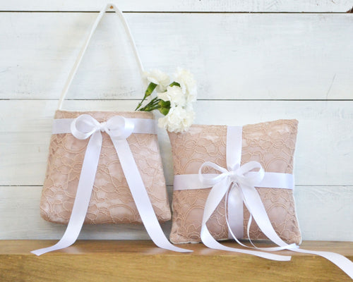 Ring Bearer Pillow & Flower Girl Basket - Blush Lace with White Bow