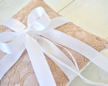 Ring Bearer Pillow - Blush Lace with White Bow