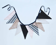 Fabric Pennant Banner - Navy, Blush & Gold