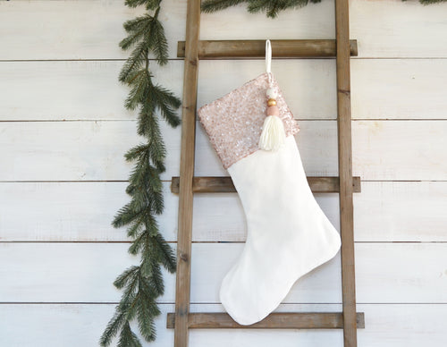 CHRISTMAS STOCKING  - Blush Sequin and Velvet