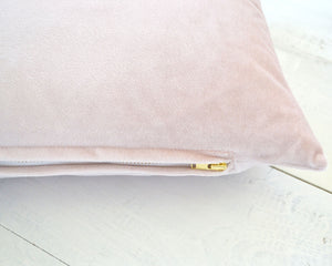 Personalized Embroidered Blush Velvet Pillow Cover