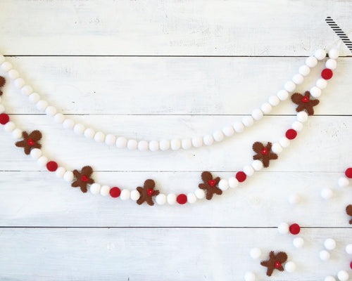 Gingerbread Felt Ball Garland