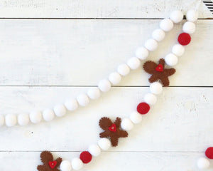 Felt Ball Garland - Brown Gingerbread