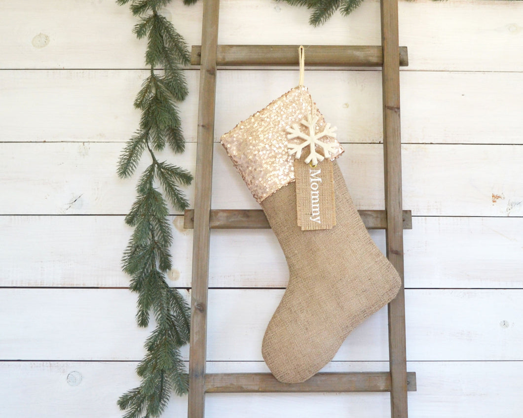 CHRISTMAS STOCKING - Champagne Gold Sequins and Burlap
