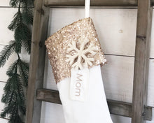 CHRISTMAS STOCKING  - Champagne Sequin and Velvet