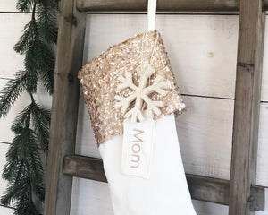 CHRISTMAS STOCKING -Champagne Gold Sequins and Velvet