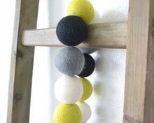 Felt Ball Garland - 4cm Chartreuse, White, Gray & Black