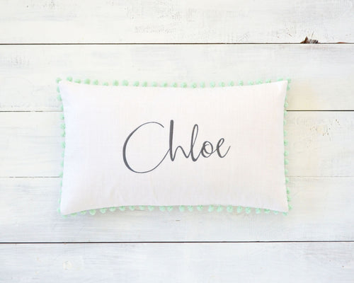 Personalized Embroidered Pillow Cover with Mint Pom Pom Trim