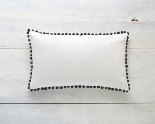 Dark Gray Pom Pom Pillow Cover