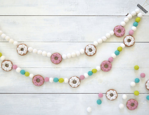 Felt Ball Garland - Donuts