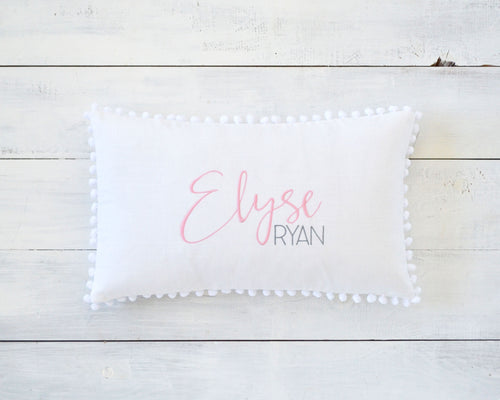 Personalized Embroidered Pillow Cover with White Pom Pom Trim
