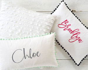 Personalized Embroidered Pillow Cover with Light Gray Pom Pom Trim