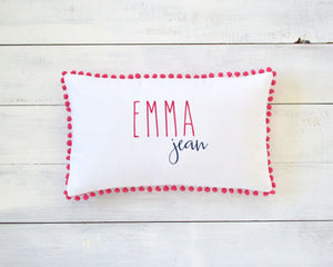 Personalized Embroidered Pillow Cover with Magenta Pom Pom Trim