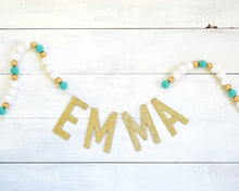 Felt Ball & Letter Garland - 2cm Aqua, White & Gold
