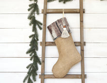 CHRISTMAS STOCKING - Gray & Brown Faux Fur and Burlap