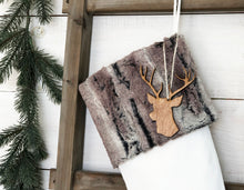 CHRISTMAS STOCKING  - Brown/Gray Faux Fur and Velvet