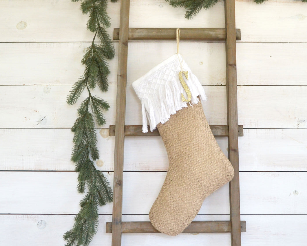CHRISTMAS STOCKING - White Cotton Tassel Fringe and Burlap