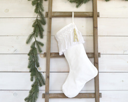 CHRISTMAS STOCKING - White Cotton Tassel Fringe and Velvet