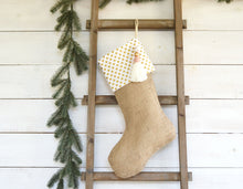 CHRISTMAS STOCKING - White & Gold Polka Dot and Burlap
