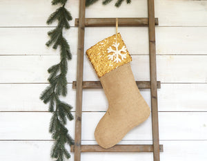 CHRISTMAS STOCKINGS - Set of 5 - Sequins and Burlap