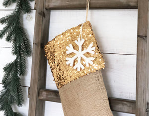 CHRISTMAS STOCKING - Gold Sequins and Burlap