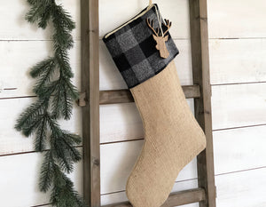 CHRISTMAS STOCKING - Gray & Black Buffalo Check and Burlap