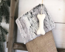 CHRISTMAS STOCKING - Gray Faux Fur and Burlap