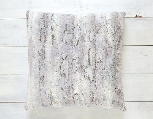 Gray Faux Fur Pillow Cover