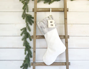 CHRISTMAS STOCKING - Gray Faux Fur and Velvet
