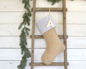 CHRISTMAS STOCKING - Gray & White Linen Pinstripe and Burlap