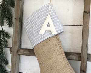 CHRISTMAS STOCKING -Gray & White Linen Pinstripe and Burlap