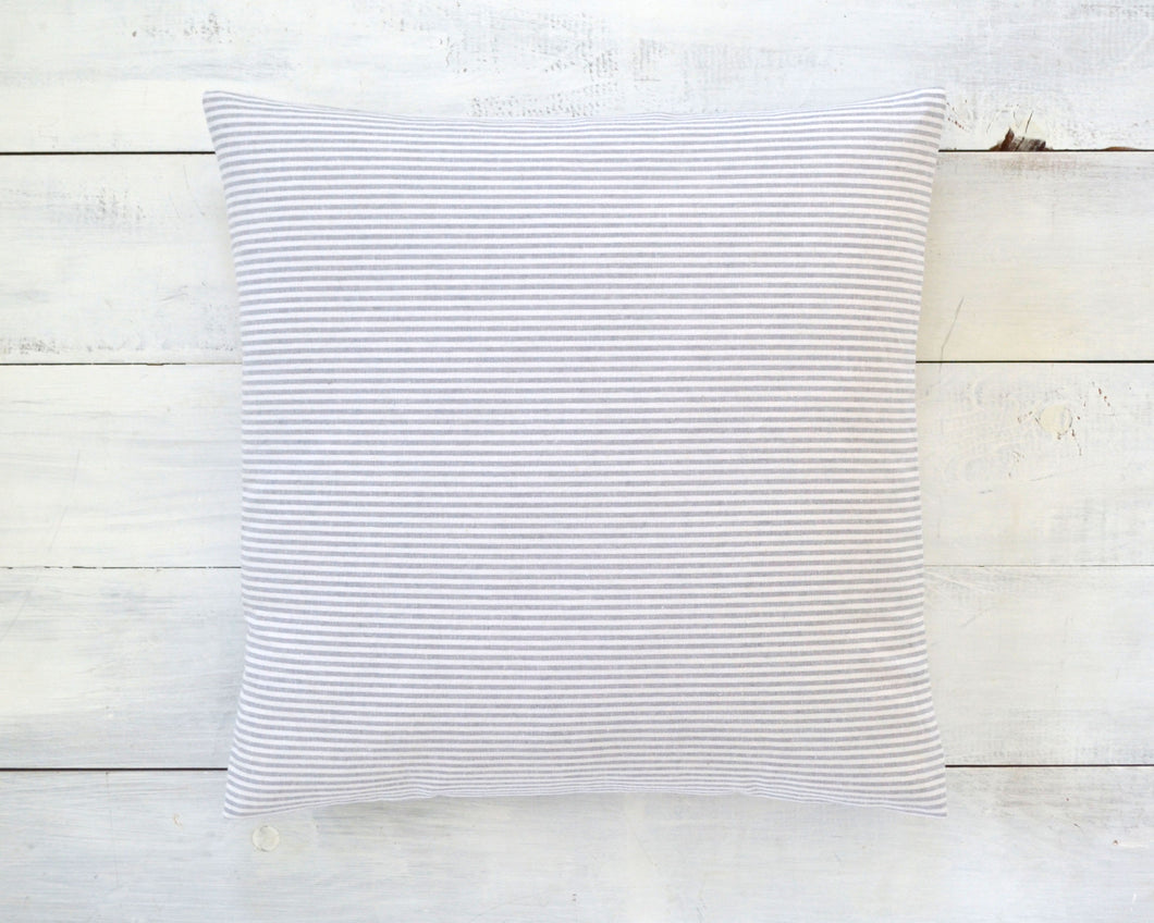 Gray and White Pinstripe Pillow Cover