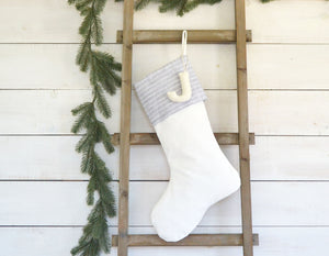 CHRISTMAS STOCKING - Gray & White Linen PInstripe