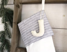 CHRISTMAS STOCKING  - Gray & White Linen Pinstripe and Velvet