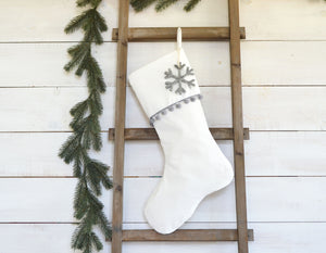 CHRISTMAS STOCKING  - Gray Pom Pom Trim and Velvet