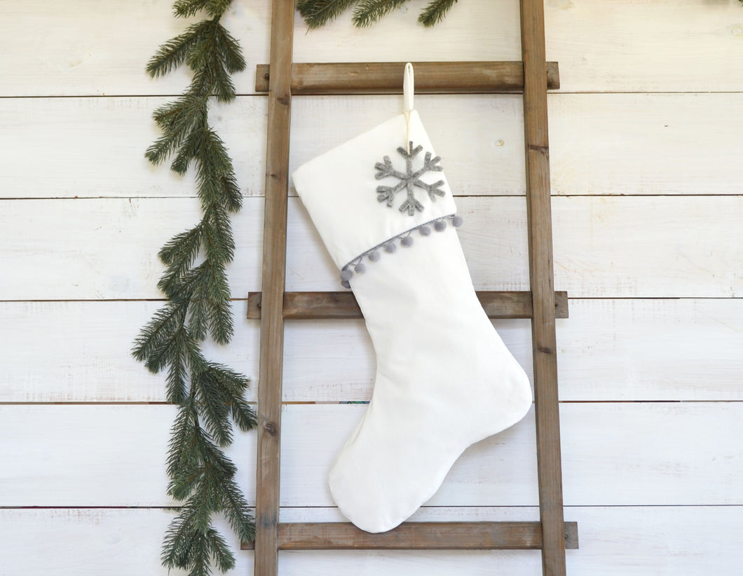 CHRISTMAS STOCKING - Gray Pom Pom