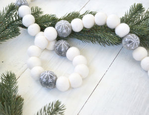 Felt Ball Garland - Gray Snowballs