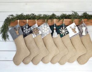 CHRISTMAS STOCKINGS - Holiday Gray Woods with Burlap