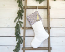 CHRISTMAS STOCKING  - Gunmetal Sequins and Velvet