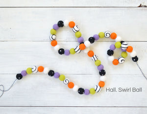 Felt Ball Garland - Halloween Black, White & Orange