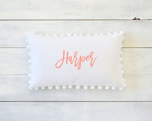Personalized Embroidered Pillow Cover with Large 7/8