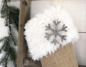 CHRISTMAS STOCKING - Ivory Faux Fur and Burlap