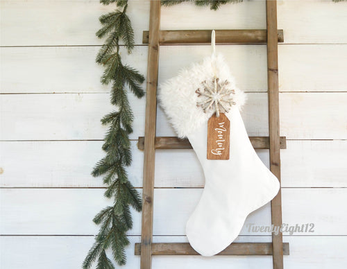 CHRISTMAS STOCKING  - Ivory Faux Fur and Velvet